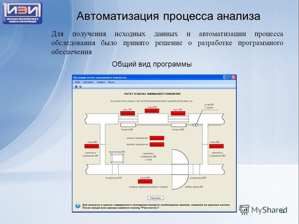 Автоматизация процесса анализа Общий вид программы Для получения исходных данных и автоматизации процесса обследования было принято решение о разработке программного обеспечения 14