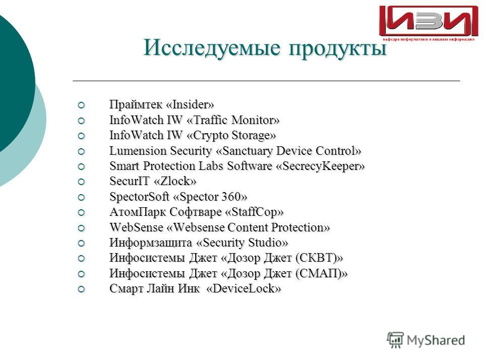 Исследуемые продукты Праймтек «Insider» Праймтек «Insider» InfoWatch IW «Traffic Monitor» InfoWatch IW «Traffic Monitor» InfoWatch IW «Crypto Storage» InfoWatch IW «Crypto Storage» Lumension Security «Sanctuary Device Control» Lumension Security «San