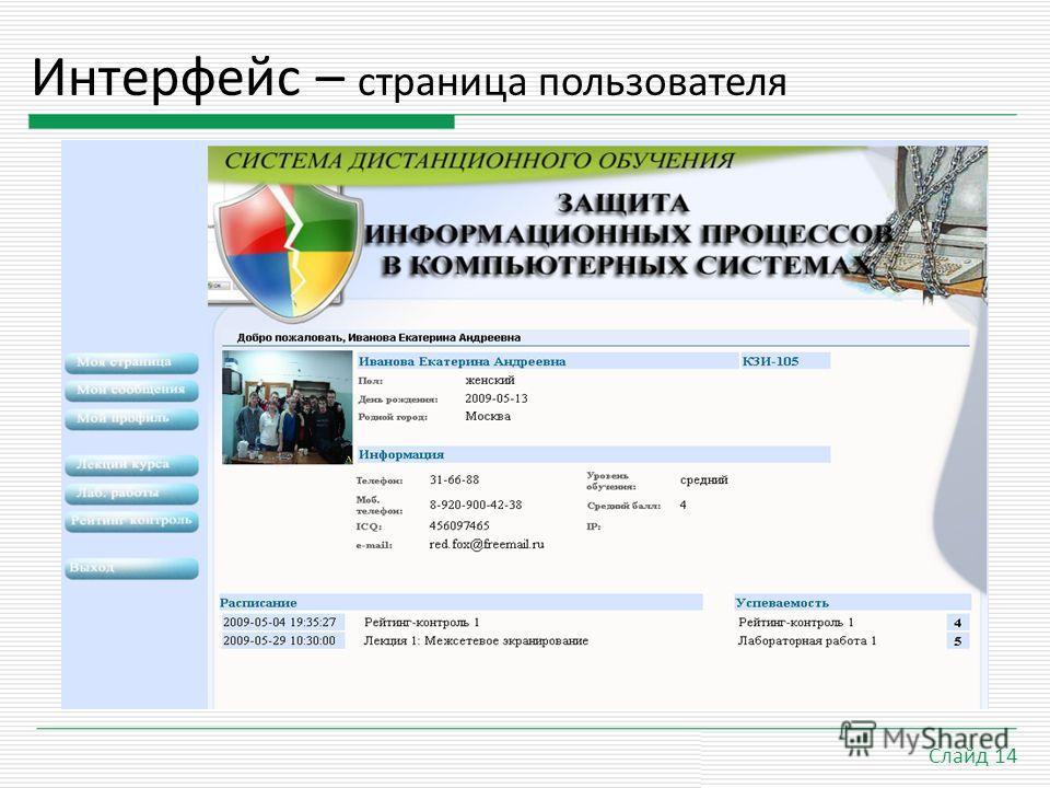 21.9.09 Слайд 14 Интерфейс – страница пользователя