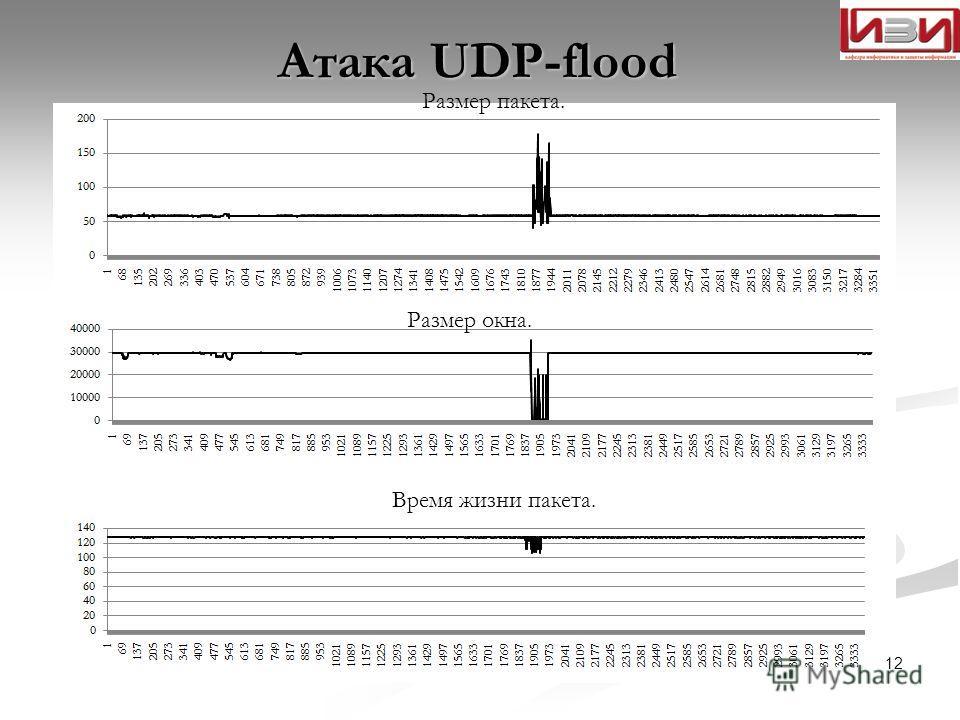 Атака UDP-flood Размер окна. Размер пакета. Время жизни пакета. 12