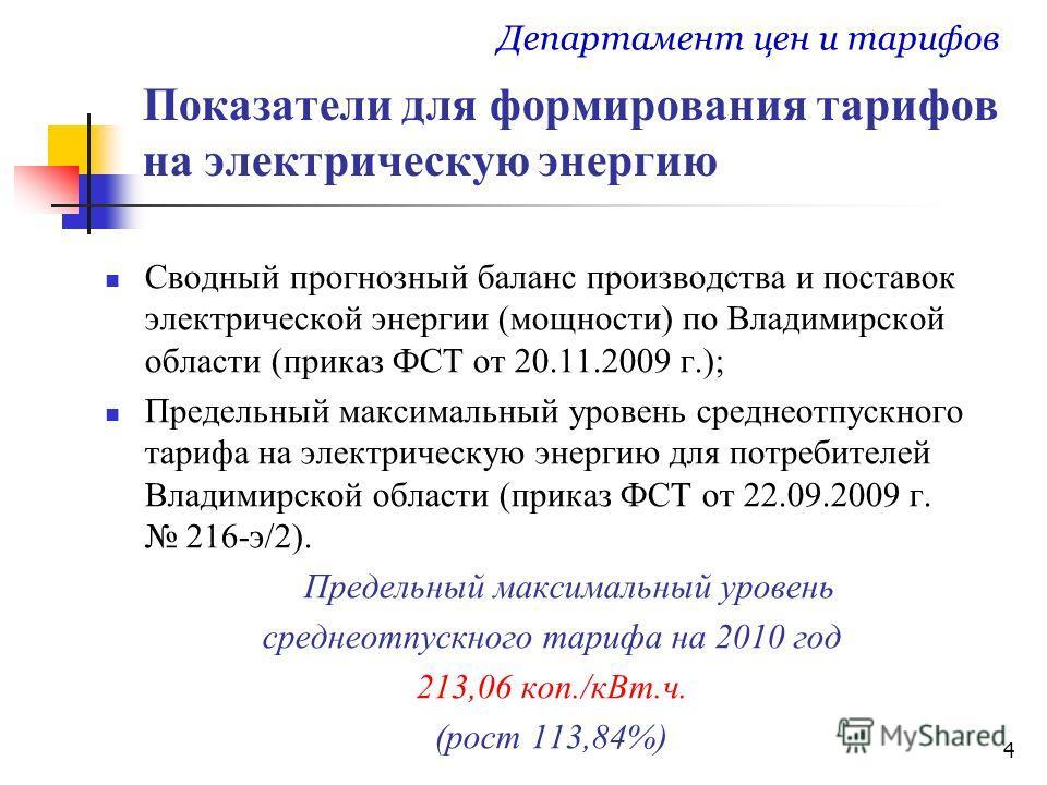 4 Показатели для формирования тарифов на электрическую энергию Сводный прогнозный баланс производства и поставок электрической энергии (мощности) по Владимирской области (приказ ФСТ от 20.11.2009 г.); Предельный максимальный уровень среднеотпускного