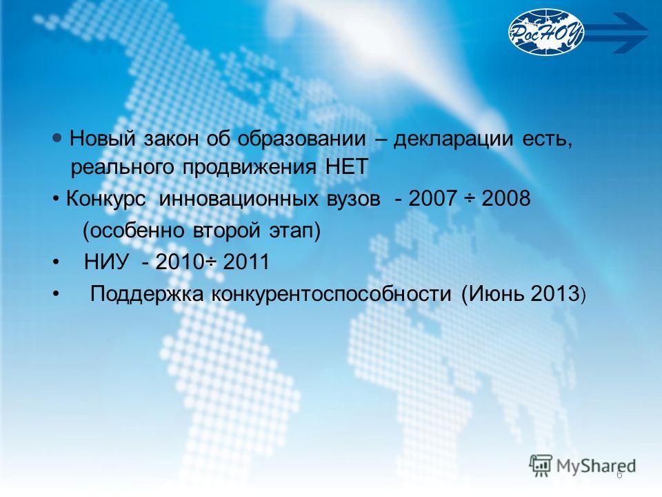 Новый закон об образовании – декларации есть, реального продвижения НЕТ Конкурс инновационных вузов - 2007 ÷ 2008 (особенно второй этап) НИУ - 2010÷ 2011 Поддержка конкурентоспособности (Июнь 2013 ) 6
