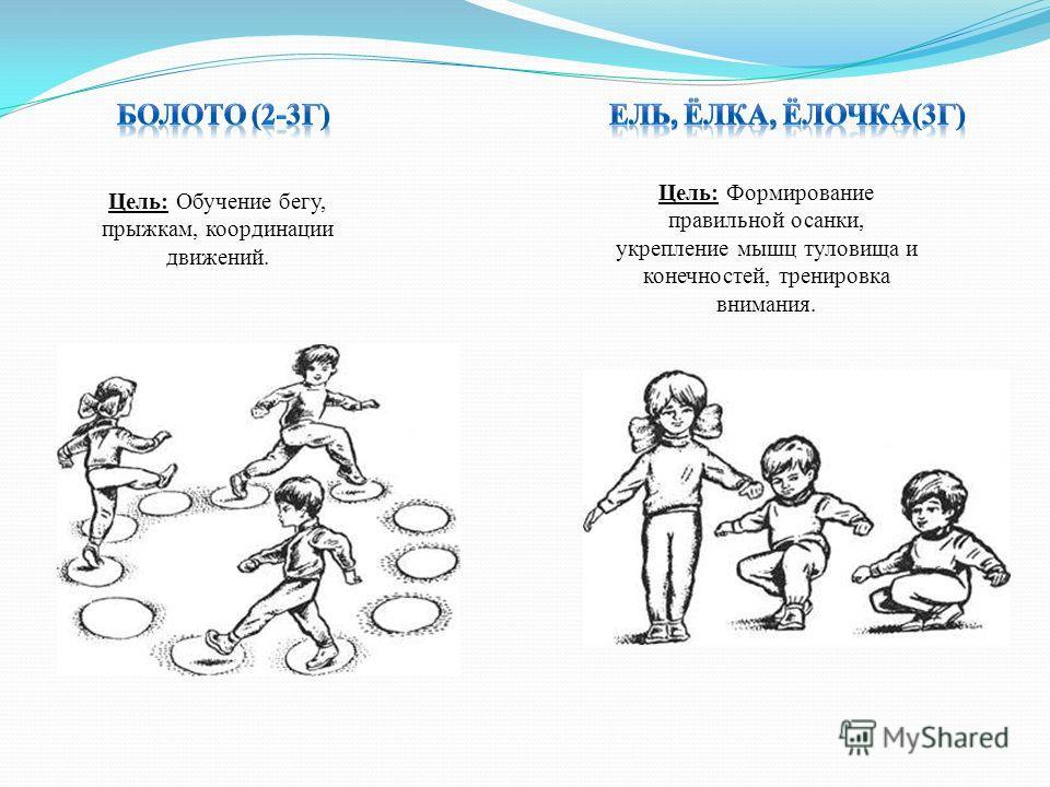 Цель: Обучение бегу, прыжкам, координации движений. Цель: Формирование правильной осанки, укрепление мышц туловища и конечностей, тренировка внимания.
