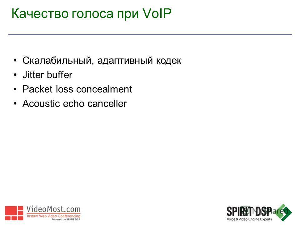 Качество голоса при VoIP Скалабильный, адаптивный кодек Jitter buffer Packet loss concealment Acoustic echo canceller