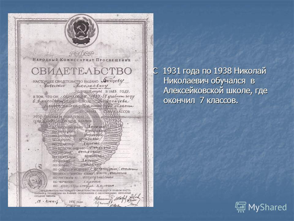 С 1931 года по 1938 Николай Николаевич обучался в Алексейковской школе, где окончил 7 классов.