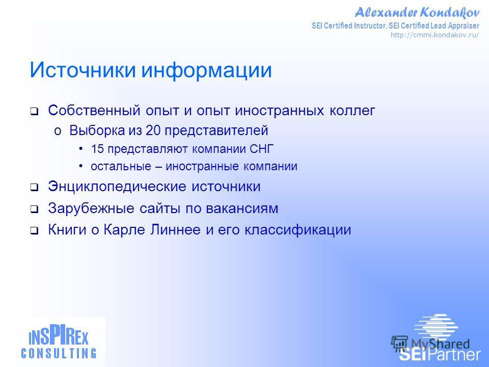 Alexander Kondakov SEI Certified Instructor, SEI Certified Lead Appraiser http://cmmi.kondakov.ru/ Источники информации Собственный опыт и опыт иностранных коллег oВыборка из 20 представителей 15 представляют компании СНГ остальные – иностранные комп