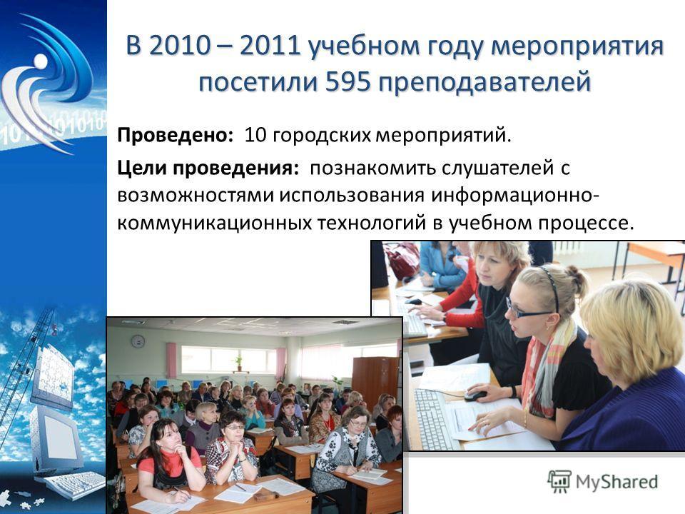 В 2010 – 2011 учебном году мероприятия посетили 595 преподавателей Проведено: 10 городских мероприятий. Цели проведения: познакомить слушателей с возможностями использования информационно- коммуникационных технологий в учебном процессе.