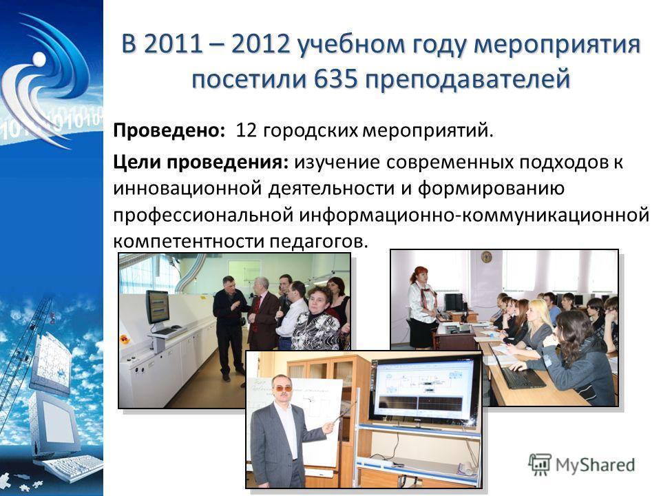 В 2011 – 2012 учебном году мероприятия посетили 635 преподавателей Проведено: 12 городских мероприятий. Цели проведения: изучение современных подходов к инновационной деятельности и формированию профессиональной информационно-коммуникационной компете