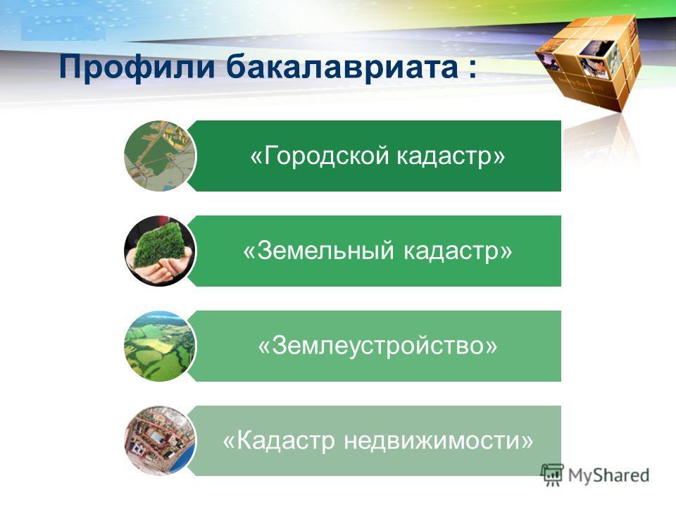 LOGO Профили бакалавриата : «Городской кадастр» «Земельный кадастр» «Землеустройство» «Кадастр недвижимости»