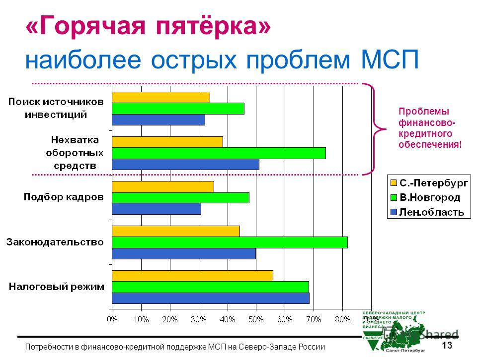13 Потребности в финансово-кредитной поддержке МСП на Северо-Западе России «Горячая пятёрка» наиболее острых проблем МСП Проблемы финансово- кредитного обеспечения!