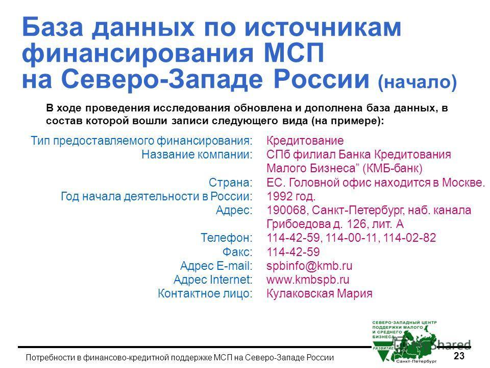 23 Потребности в финансово-кредитной поддержке МСП на Северо-Западе России База данных по источникам финансирования МСП на Северо-Западе России (начало) В ходе проведения исследования обновлена и дополнена база данных, в состав которой вошли записи с