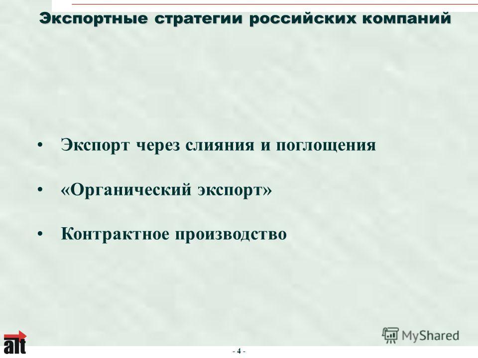 - 4 - Экспортные стратегии российских компаний Экспорт через слияния и поглощения «Органический экспорт» Контрактное производство