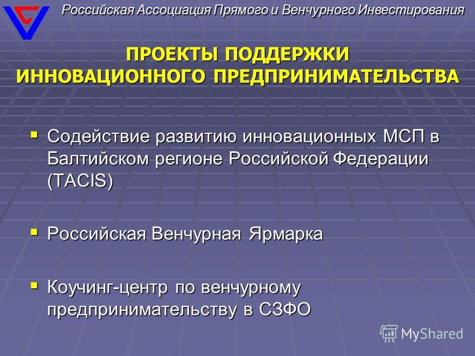 ПРОЕКТЫ ПОДДЕРЖКИ ИННОВАЦИОННОГО ПРЕДПРИНИМАТЕЛЬСТВА Содействие развитию инновационных МСП в Балтийском регионе Российской Федерации (TACIS) Содействие развитию инновационных МСП в Балтийском регионе Российской Федерации (TACIS) Российская Венчурная