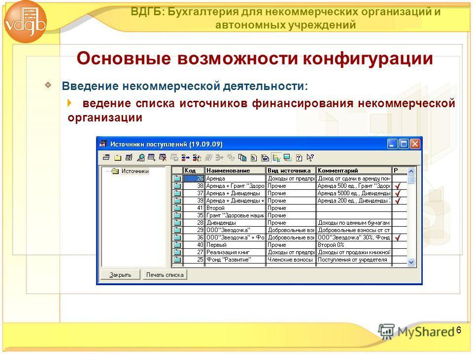 6 Основные возможности конфигурации Введение некоммерческой деятельности: ведение списка источников финансирования некоммерческой организации ВДГБ: Бухгалтерия для некоммерческих организаций и автономных учреждений