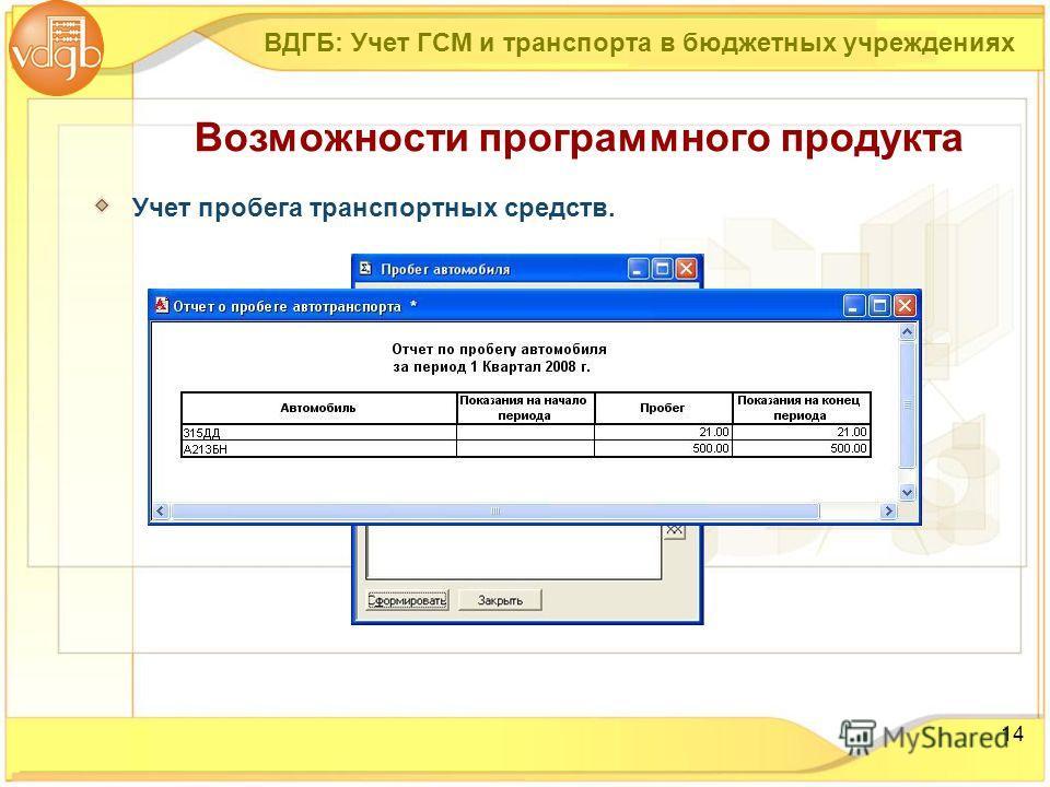 14 Учет пробега транспортных средств. Возможности программного продукта ВДГБ: Учет ГСМ и транспорта в бюджетных учреждениях