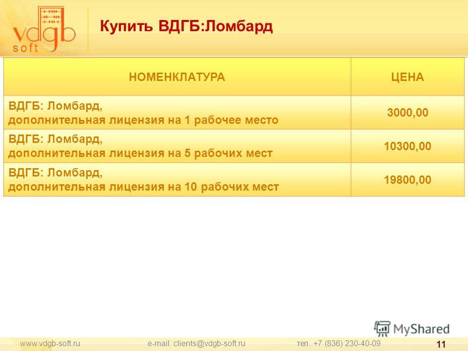 www.vdgb-soft.ru e-mail: clients@vdgb-soft.ru тел. +7 (836) 230-40-09 11 НОМЕНКЛАТУРАЦЕНА ВДГБ: Ломбард, дополнительная лицензия на 1 рабочее место 3000,00 ВДГБ: Ломбард, дополнительная лицензия на 5 рабочих мест 10300,00 ВДГБ: Ломбард, дополнительна