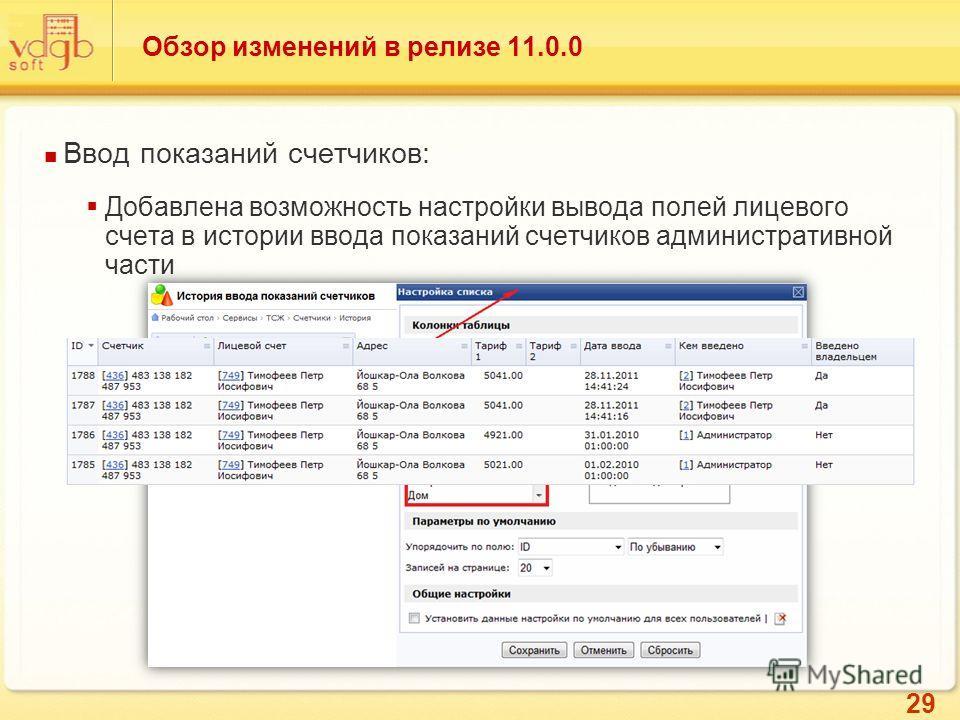 29 Обзор изменений в релизе 11.0.0 Ввод показаний счетчиков: Добавлена возможность настройки вывода полей лицевого счета в истории ввода показаний счетчиков административной части