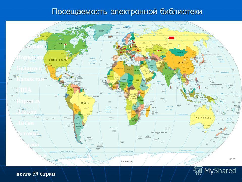 Россия Украина Германия Норвегия Беларусь Казахстан США Израиль Латвия Литва Эстония Польша Франция и др. всего 59 стран Посещаемость электронной библиотеки