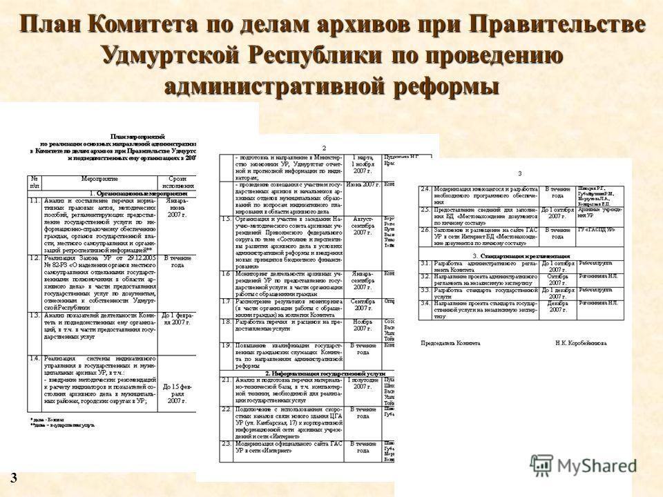 План Комитета по делам архивов при Правительстве Удмуртской Республики по проведению административной реформы 3