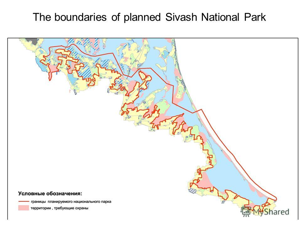 The boundaries of planned Sivash National Park