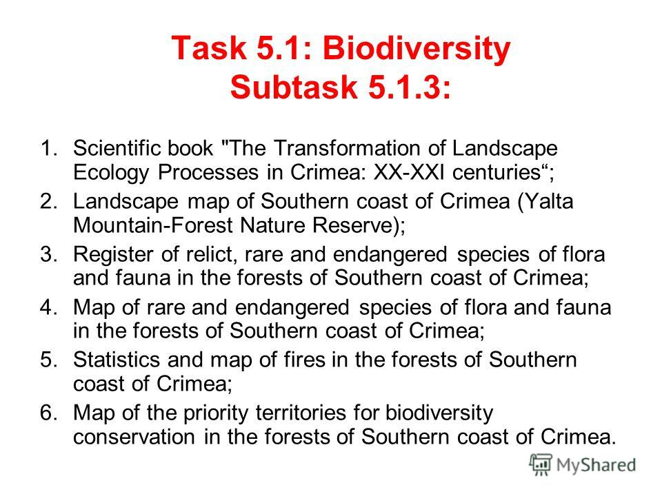 Task 5.1: Biodiversity Subtask 5.1.3: 1.Scientific book