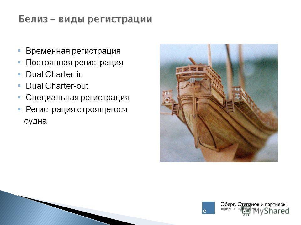 Временная регистрация Постоянная регистрация Dual Charter-in Dual Charter-out Специальная регистрация Регистрация строящегося судна Белиз – виды регистрации