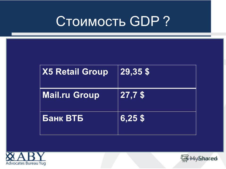 Стоимость GDP ? X5 Retail Group29,35 $ Mail.ru Group27,7 $ Банк ВТБ6,25 $