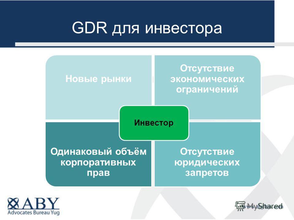 GDR для инвестора Одинаковый объём корпоративных прав Отсутствие юридических запретов Новые рынки Отсутствие экономических ограничений Инвестор