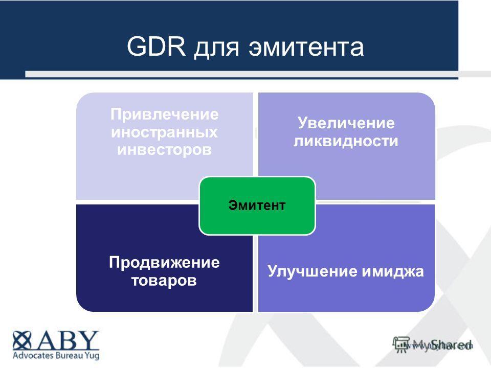 GDR для эмитента Продвижение товаров Улучшение имиджа Привлечение иностранных инвесторов Увеличение ликвидности Эмитент