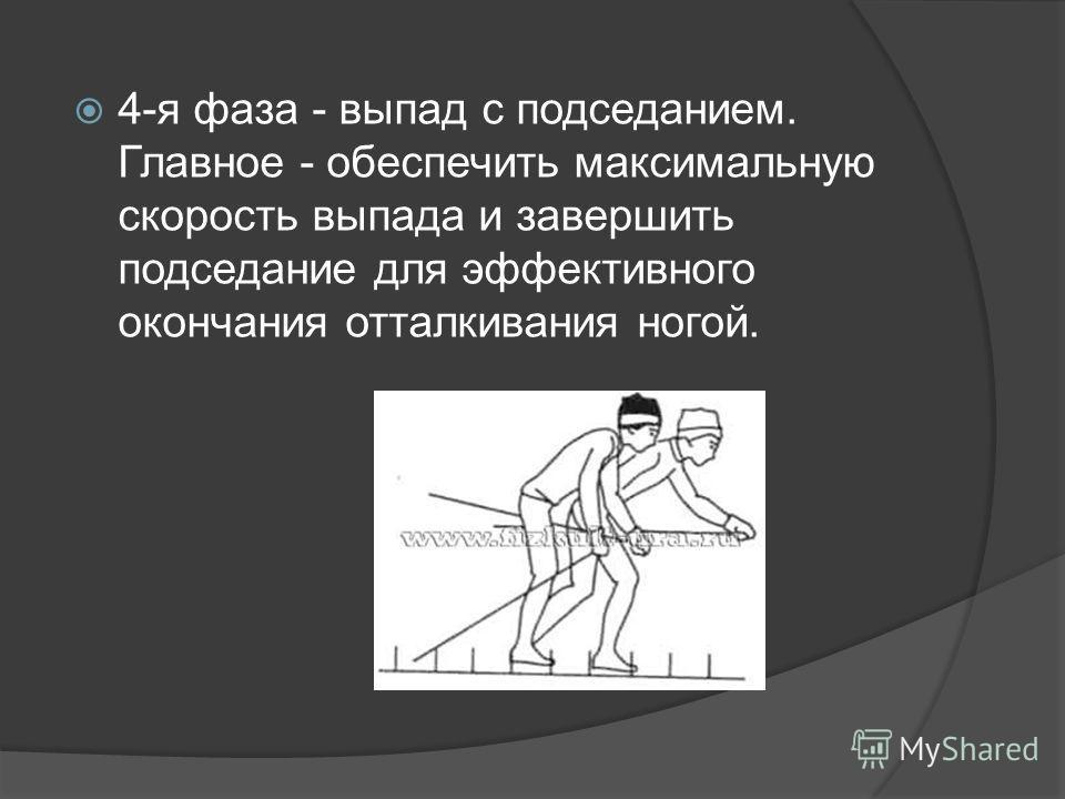 4-я фаза - выпад с подседанием. Главное - обеспечить максимальную скорость выпада и завершить подседание для эффективного окончания отталкивания ногой.