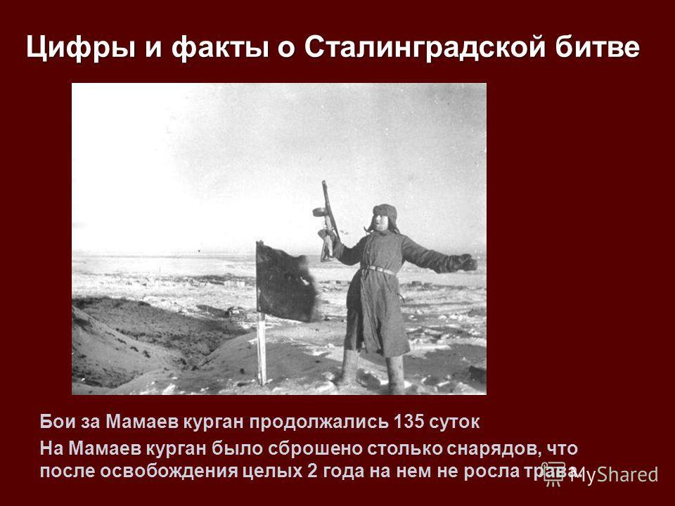 Бои за Мамаев курган продолжались 135 суток На Мамаев курган было сброшено столько снарядов, что после освобождения целых 2 года на нем не росла трава. Цифры и факты о Сталинградской битве