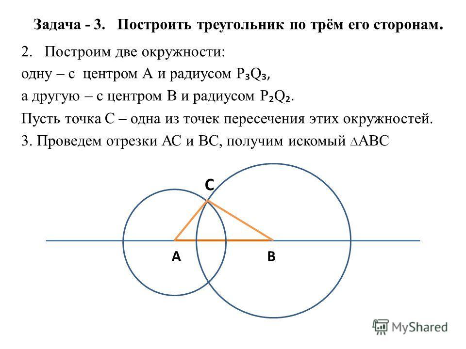 Задача - 3. Построить треугольник по трём его сторонам. 2.Построим две окружности: одну – с центром А и радиусом Р Q, а другую – с центром В и радиусом Р Q. Пусть точка С – одна из точек пересечения этих окружностей. 3. Проведем отрезки АС и ВС, полу
