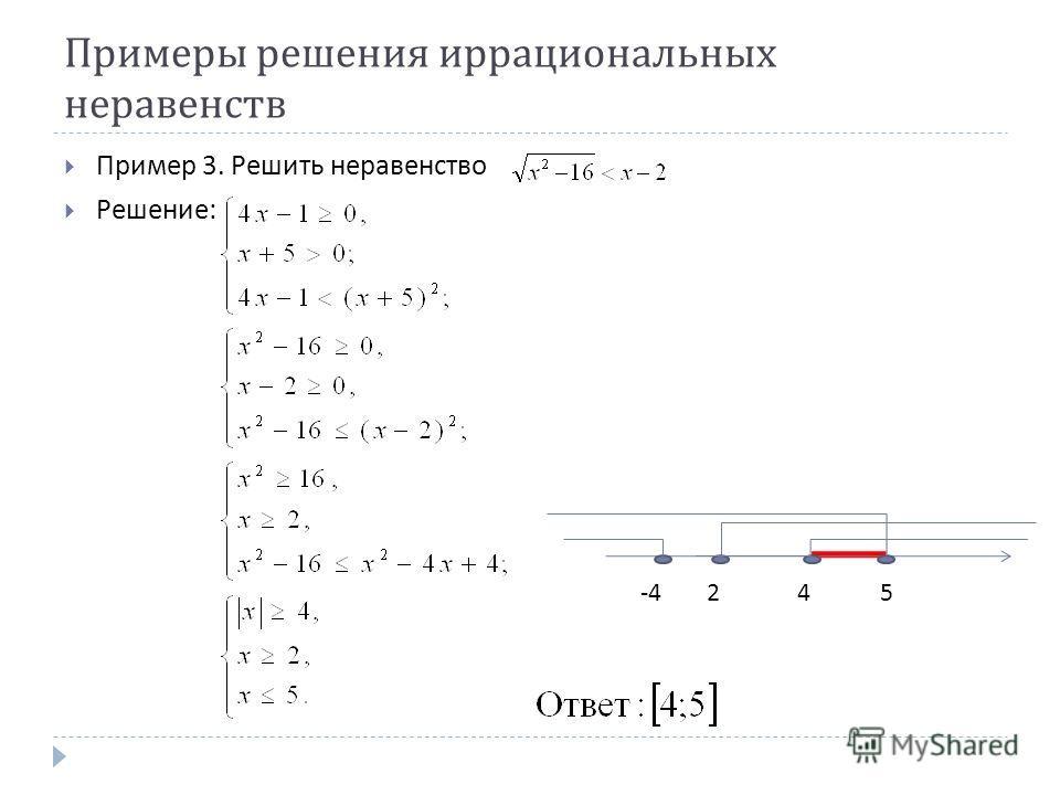 Примеры решения иррациональных неравенств Пример 3. Решить неравенство Решение : -4245