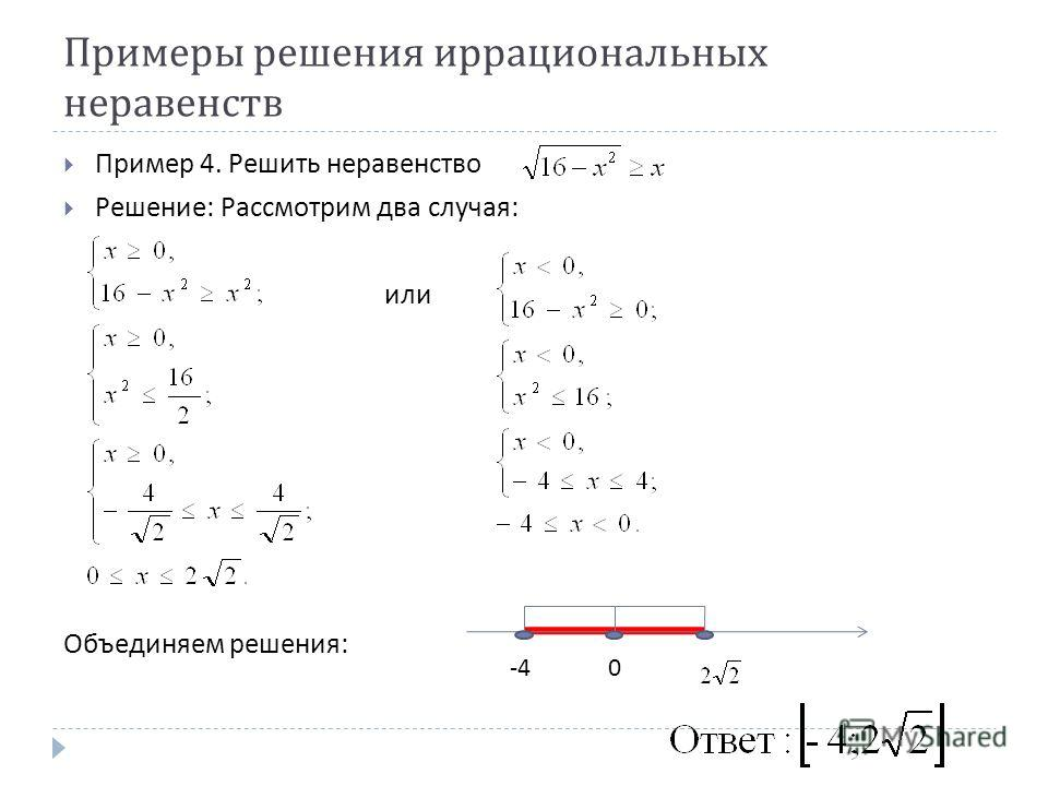 Примеры решения иррациональных неравенств Пример 4. Решить неравенство Решение : Рассмотрим два случая : или Объединяем решения : -40