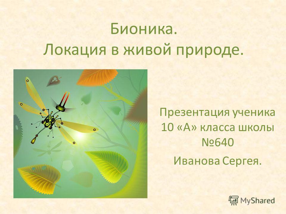 Бионика. Локация в живой природе. Презентация ученика 10 «А» класса школы 640 Иванова Сергея.