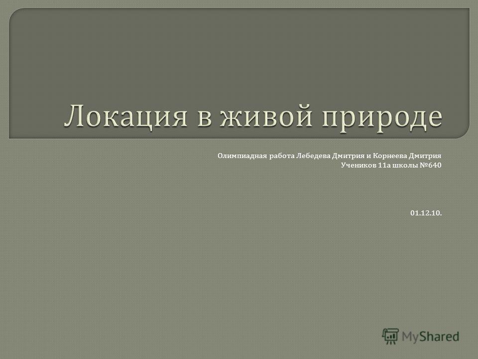 Олимпиадная работа Лебедева Дмитрия и Корнеева Дмитрия Учеников 11 а школы 640 01.12.10.