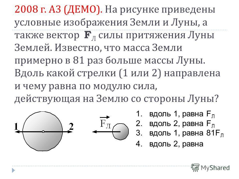 2008 г. А 3 ( ДЕМО ). На рисунке приведены условные изображения Земли и Луны, а также вектор F Л силы притяжения Луны Землей. Известно, что масса Земли примерно в 81 раз больше массы Луны. Вдоль какой стрелки (1 или 2) направлена и чему равна по моду