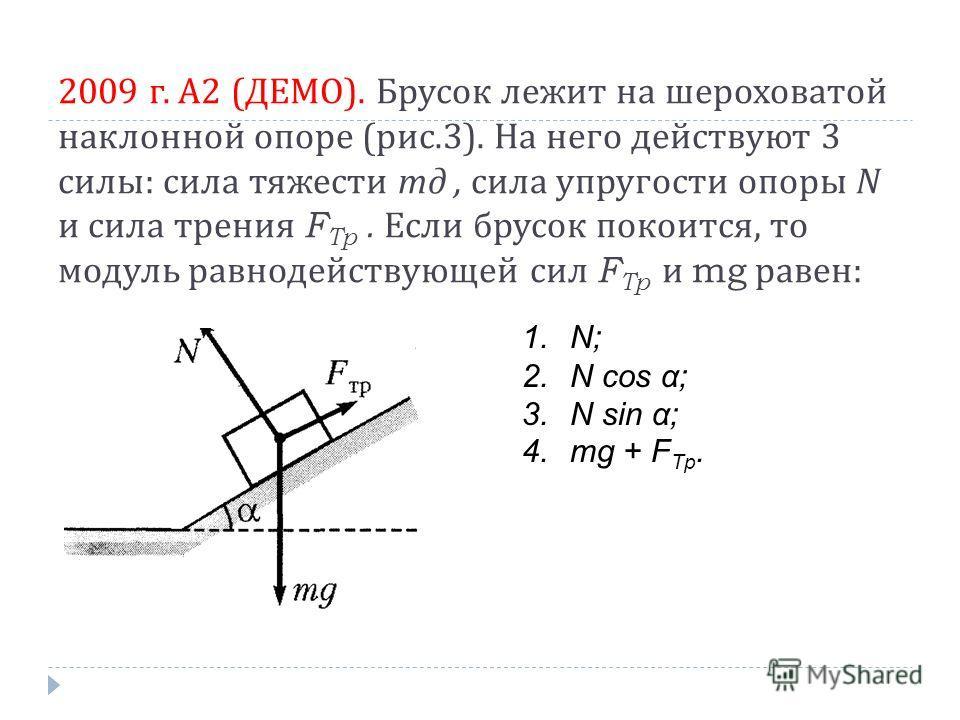 2009 г. А 2 ( ДЕМО ). Брусок лежит на шероховатой наклонной опоре ( рис.3). На него действуют 3 силы : сила тяжести тд, сила упругости опоры N и сила трения F Tp. Если брусок покоится, то модуль равнодействующей сил F Tp и mg равен : 1.N; 2.N cos α;