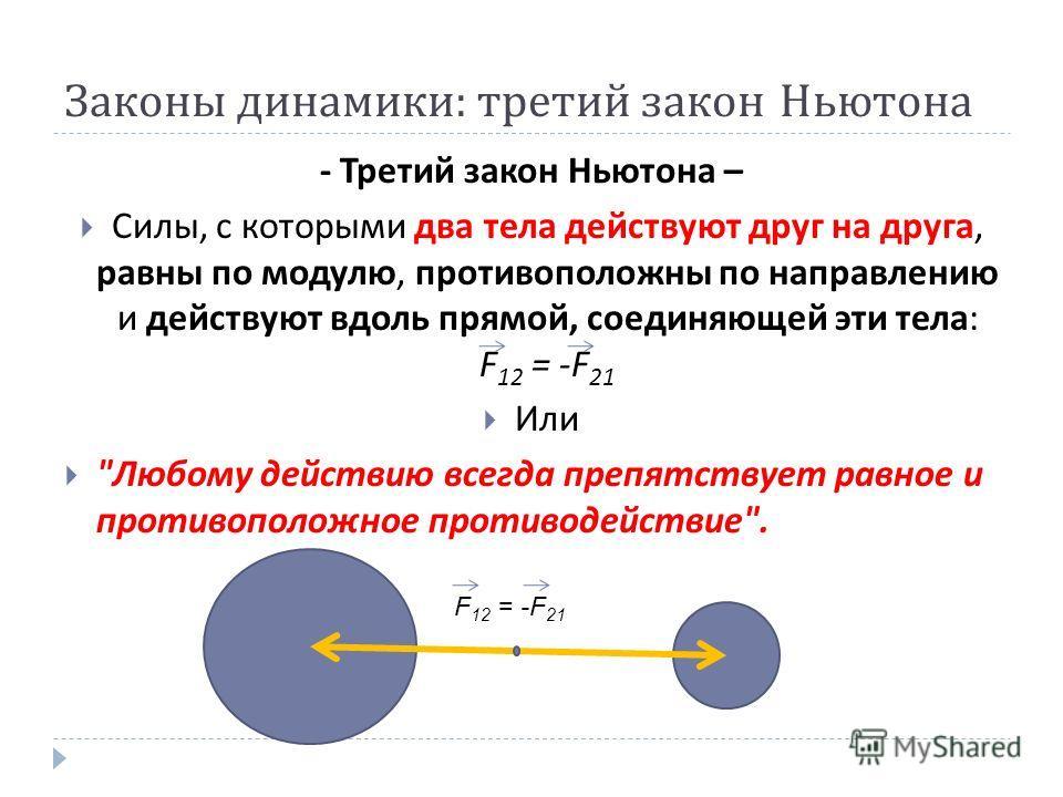 Законы динамики : третий закон Ньютона - Третий закон Ньютона – Силы, с которыми два тела действуют друг на друга, равны по модулю, противоположны по направлению и действуют вдоль прямой, соединяющей эти тела : F 12 = -F 21 Или