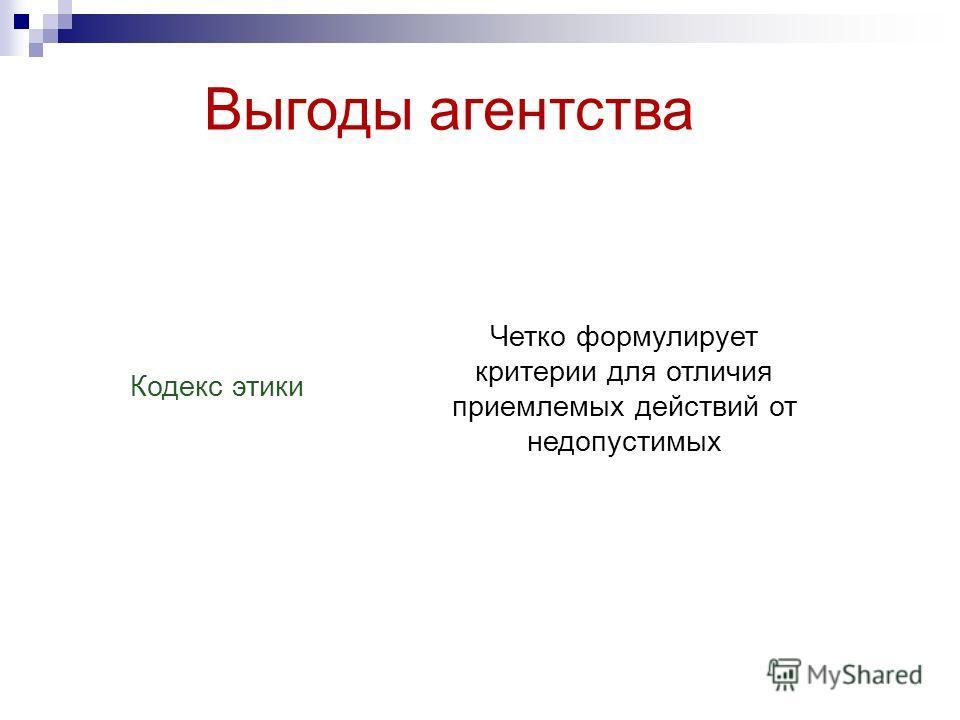 Выгоды агентства Кодекс этики Четко формулирует критерии для отличия приемлемых действий от недопустимых