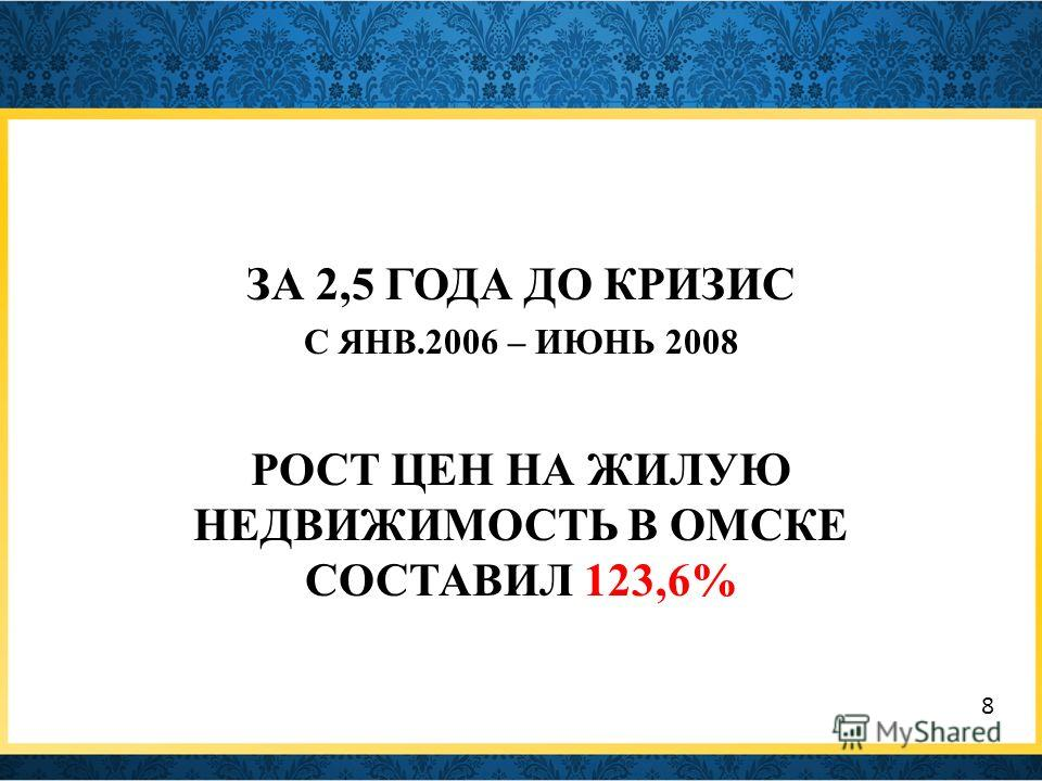 ЗА 2,5 ГОДА ДО КРИЗИС С ЯНВ.2006 – ИЮНЬ 2008 РОСТ ЦЕН НА ЖИЛУЮ НЕДВИЖИМОСТЬ В ОМСКЕ СОСТАВИЛ 123,6% 8
