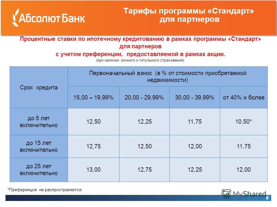 Тарифы программы «Стандарт» для партнеров Процентные ставки по ипотечному кредитованию в рамках программы «Стандарт» для партнеров с учетом преференции, предоставляемой в рамках акции. (при наличии личного и титульного страхования): 8 *Преференция не