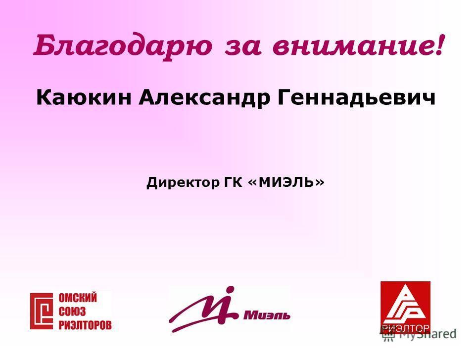 Благодарю за внимание! Каюкин Александр Геннадьевич Директор ГК «МИЭЛЬ»