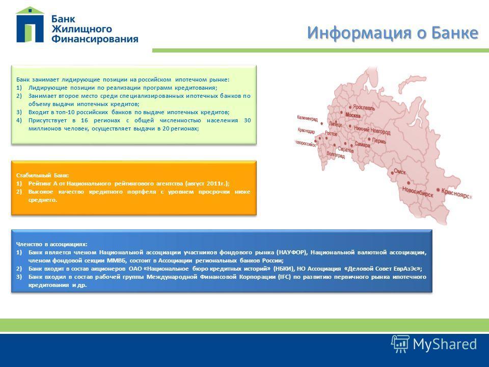 Информация о Банке Банк занимает лидирующие позиции на российском ипотечном рынке: 1)Лидирующие позиции по реализации программ кредитования; 2)Занимает второе место среди специализированных ипотечных банков по объему выдачи ипотечных кредитов; 3)Вход