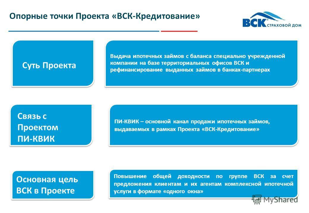 Проект «ВСК-Кредитование»: схема выдачи ипотечных займов в региональной сети ВСК