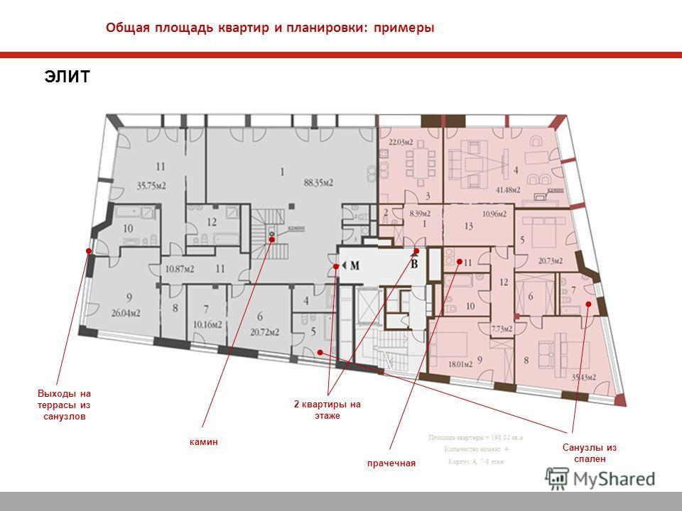 Общая площадь квартир и планировки: примеры ЭЛИТ 2 квартиры на этаже Санузлы из спален прачечная камин Выходы на террасы из санузлов