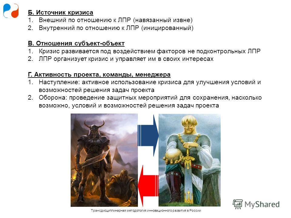 Трансдисциплинарная методология инновационного развития в России Б. Источник кризиса 1.Внешний по отношению к ЛПР (навязанный извне) 2.Внутренний по отношению к ЛПР (иницированный) В. Отношения субъект-объект 1.Кризис развивается под воздействием фак