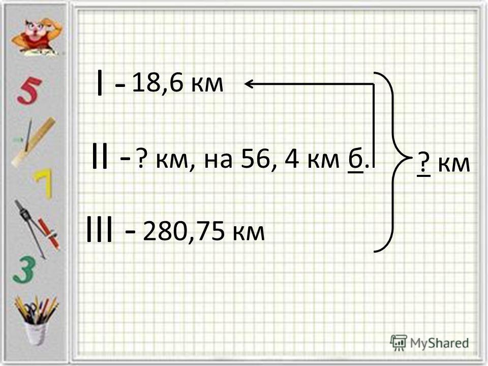 I - II - III - 18,6 км ? км, на 56, 4 км б. 280,75 км ? км
