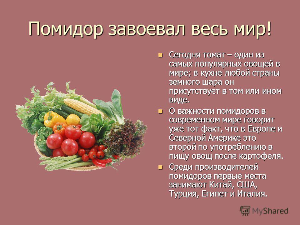Помидор завоевал весь мир! Сегодня томат – один из самых популярных овощей в мире; в кухне любой страны земного шара он присутствует в том или ином виде. Сегодня томат – один из самых популярных овощей в мире; в кухне любой страны земного шара он при