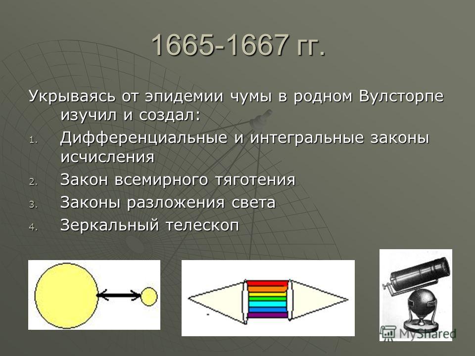 1665-1667 гг. Укрываясь от эпидемии чумы в родном Вулсторпе изучил и создал: 1. Дифференциальные и интегральные законы исчисления 2. Закон всемирного тяготения 3. Законы разложения света 4. Зеркальный телескоп
